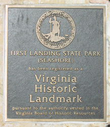 a commerative plaque stating the historical significane of First Landing State Park